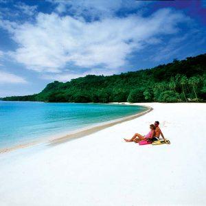 Vanuatu - Tourism - Overwater - Beach Couple-VAN157